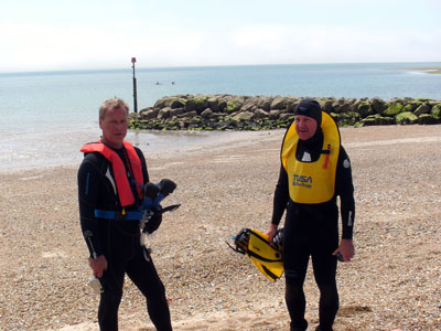 Preparing to dive - Paul and Anthony